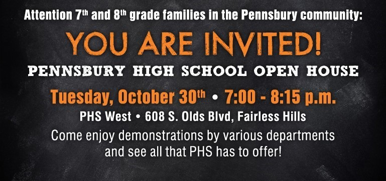 Pennsbury High School will  host an open house for 7th and 8th grade families on October 30th.
