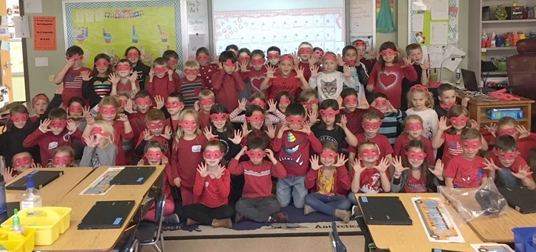"First graders at Penn Valley Elementary say ""BOO!"" to drugs during Red Ribbon Week."