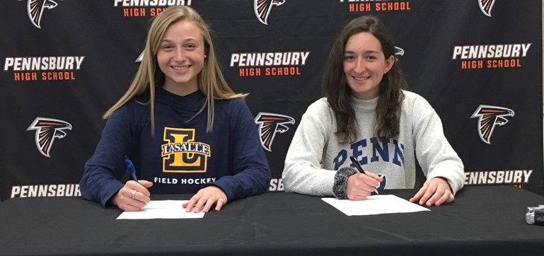 (L-R) Senior PHS athletes, Samantha Hackman and Maya Geller, signed National Letters of Intent to play field hockey at LaSalle University and the University of Pennsylvania, respectively.