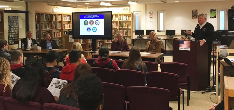 Pennsbury veterans from the Class of 1964 addressed 11th graders studying modern U.S. history.