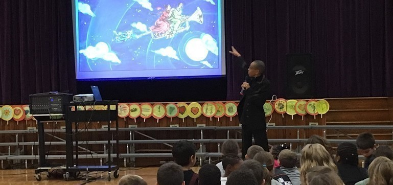 Guest author Andrea Davis Pinkney discussed her books with students in every grade level at Makefield Elementary.