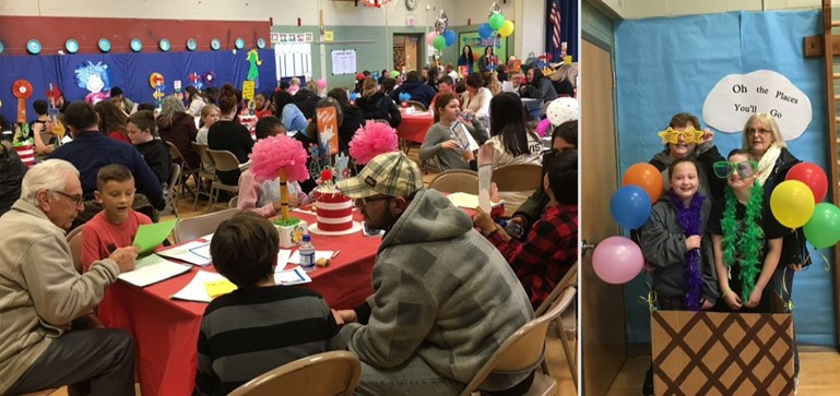 Students and family members at Walt Disney Elementary joined in celebration of reading on Dr. Seuss' birthday.