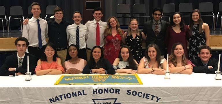 At the April 2018 induction ceremony of the Pennsbury High School National Honor Society, the outgoing officers (front row) welcomed the new officers for the 2018-2019 school year.