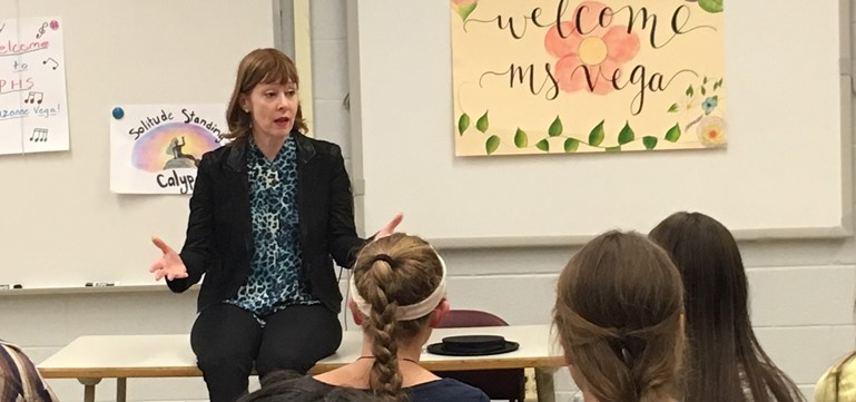 Musical artist Suzanne Vega met with 9th grade Honors English students to discuss the writing process at the invitation of Pennsbury High School teacher, Breanne Cook