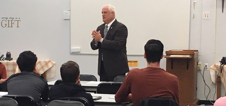 Pennsbury High School students listened intently as Bucks County District Attorney Matthew Weintraub responded to their thought-provoking questions on school safety and security.
