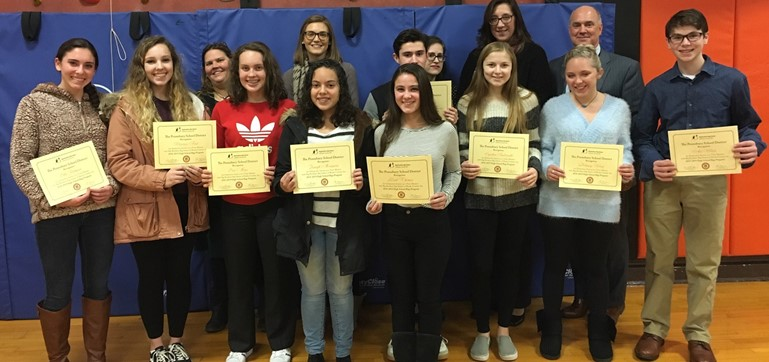 Representatives of Big Brothers Big Sisters of Bucks County joined Superintendent Dr. William Gretzula in honoring PHS students who volunteer as Bigs in numerous Pennsbury elementary schools