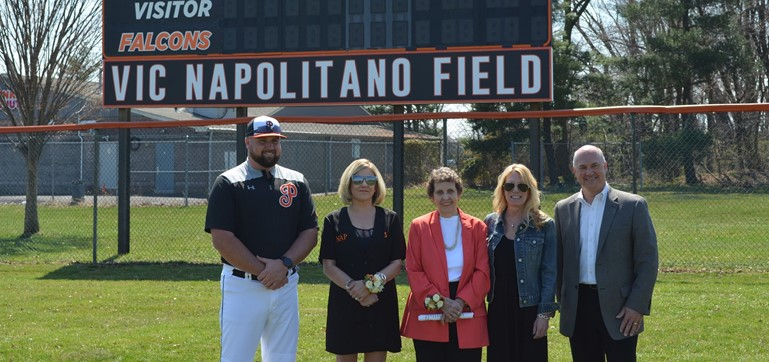 The newly-dedicated Vic Napolitano baseball field - named for the long-time Pennsbury baseball coach - was celebrated on April 6th with (l-r) Coach Joe Pesci, members of Coach Napolitano's family, and Superintendent Dr. William Gretzula.