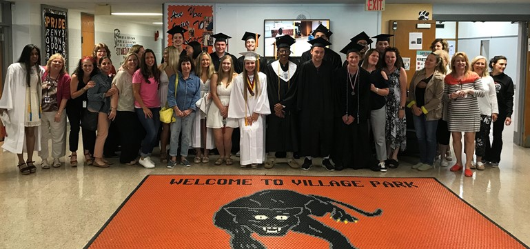 "Village Park Elementary alumni and former faculty members reunited for a senior ""clap-out"" prior to graduation."