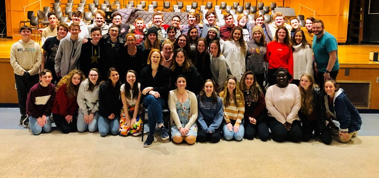 The cast of the upcoming PHS musical, Hello Dolly!, met with one of Broadway's Hello Dolly! stars, Kate Baldwin (center), in a master class.