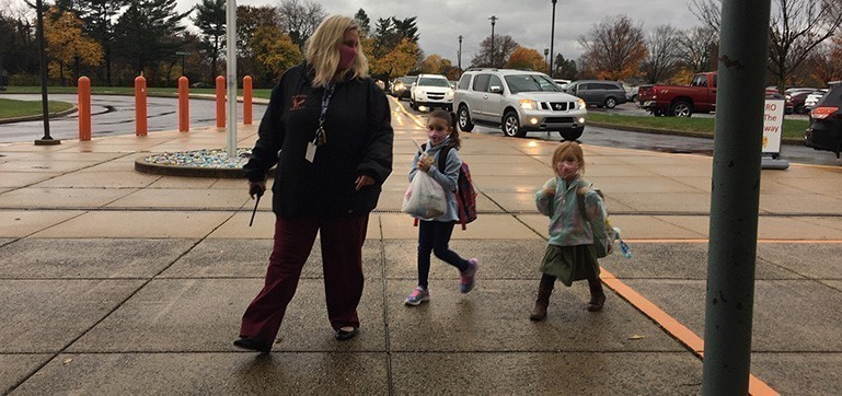 Manor Elementary Principal Terri Salvucci greeted PreK-2nd grade students and specialized learners on their first day back to school since March.